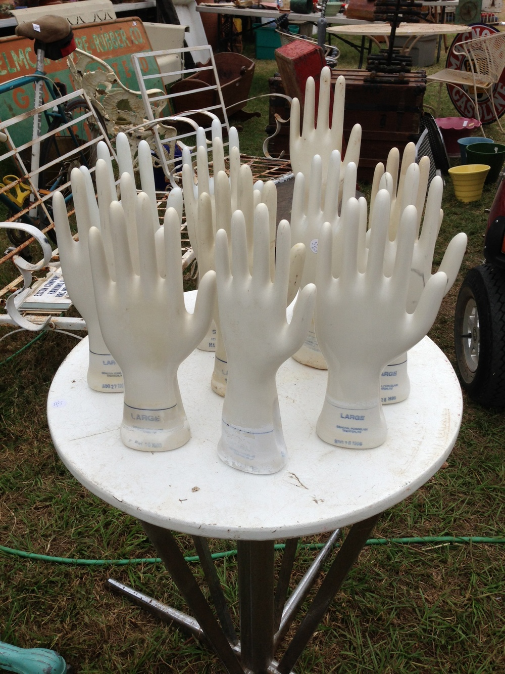 Antique furniture, decor;  Rubber glove molds