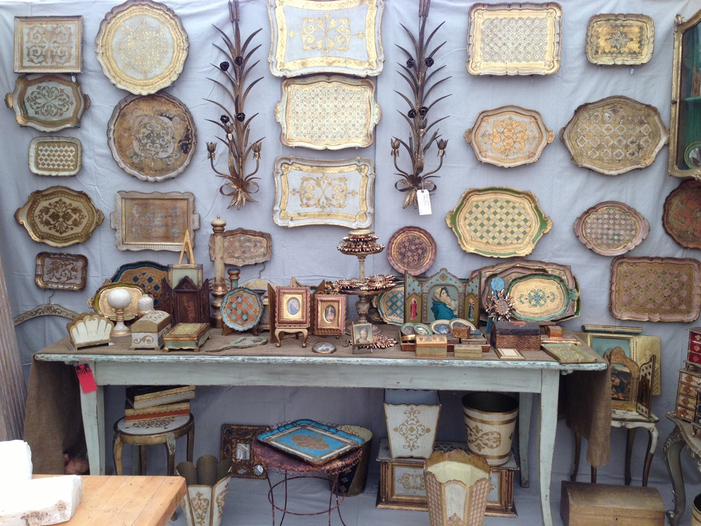 Antique furniture, decor;  trays
