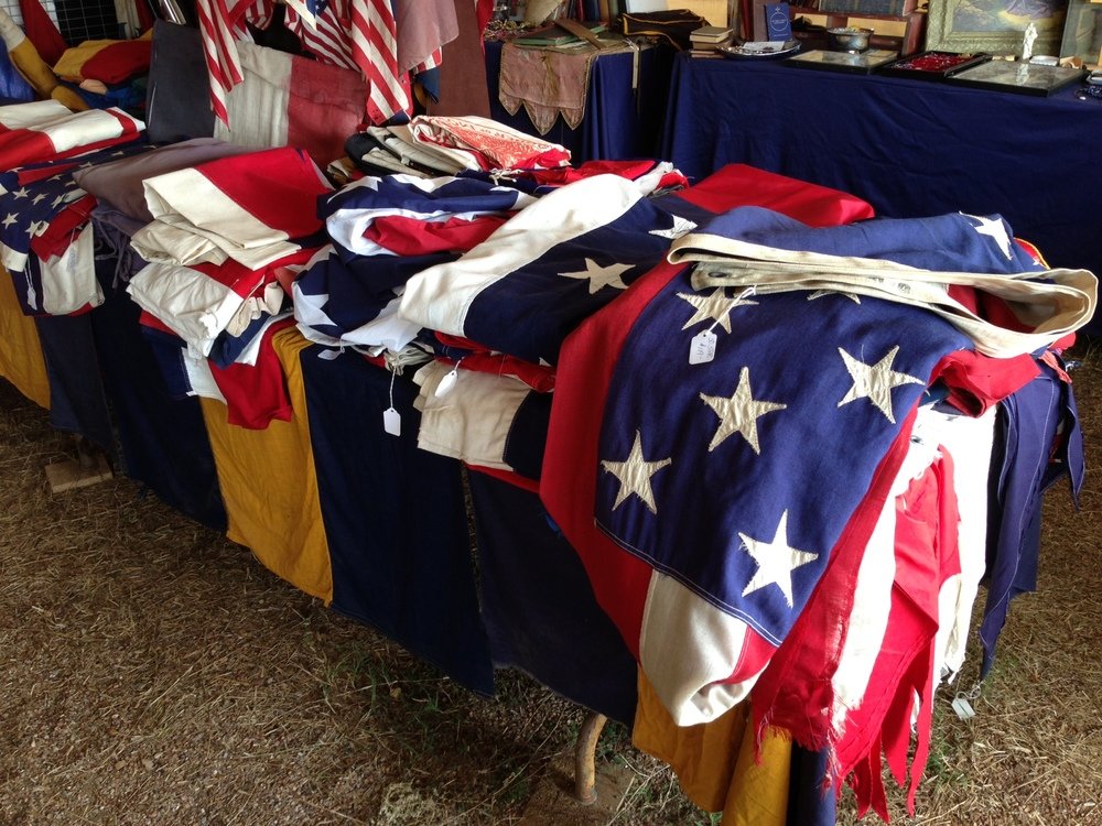Antique furniture, decor; vintage flags