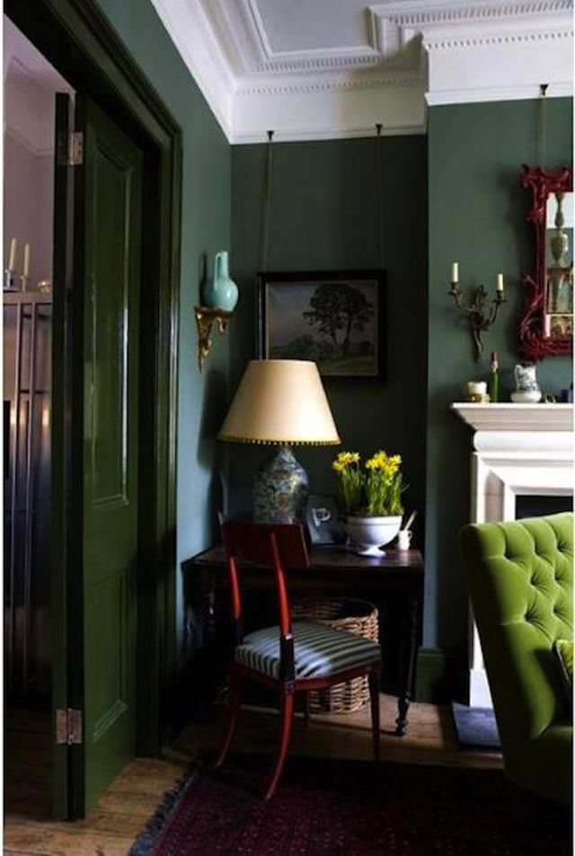 green; chair; lamp; sitting room; shades of one color | Photographer:  ANTONY CROLLA PHOTOGRAPHY