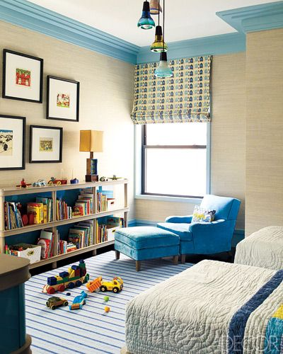 kid's bedroom; blue; shades of one color | Photographer:  Eric Piasecki