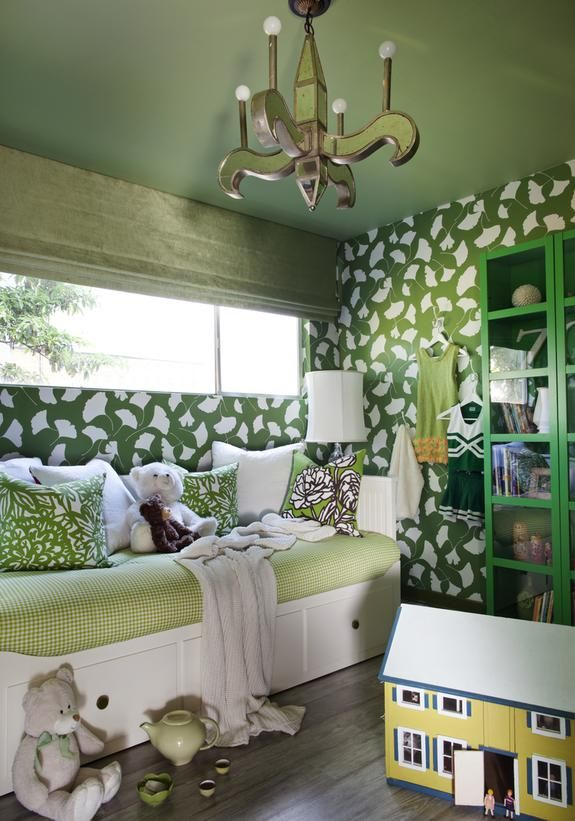 green, yellow playroom; shades of one color | Interior design -er:   Brian Patrick Flynn