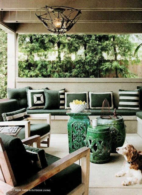 green patio; shades of one color | Interior design -er:  Sheldon Harte