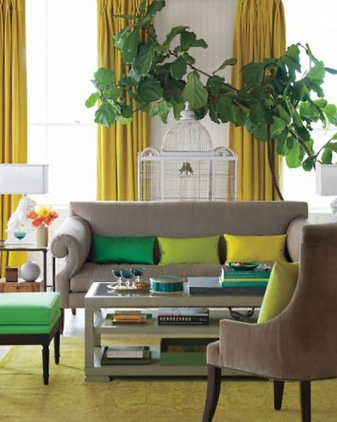 living room, green, yellow, couch, chair, shades of one color | Source: Martha Stewart