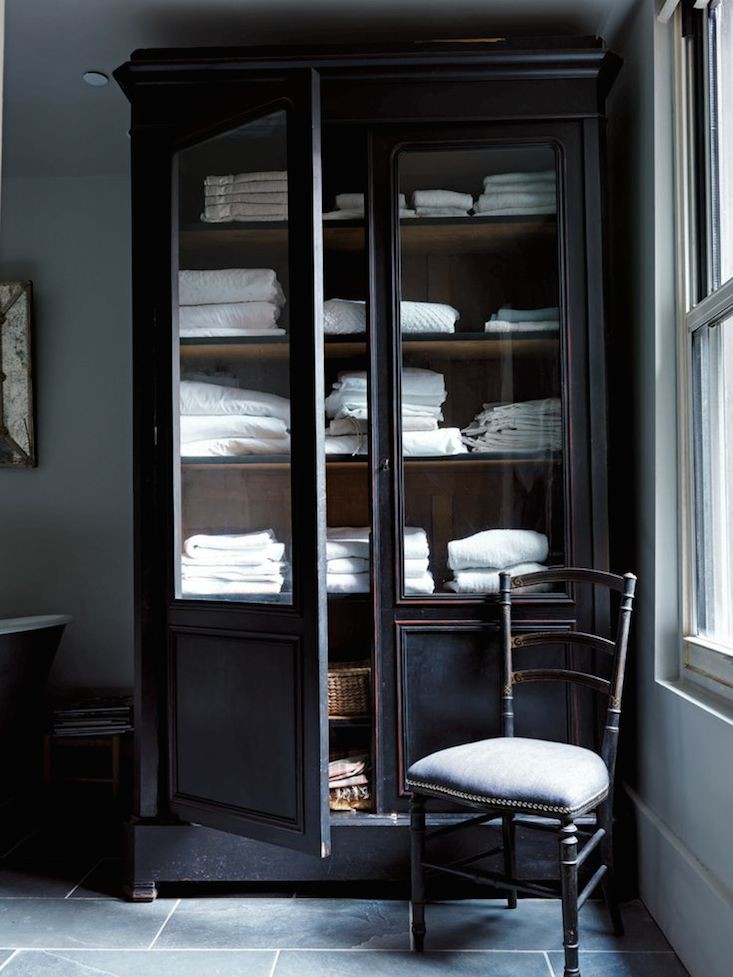 "MUST-SEE: 12 ARMOIRES AS LINEN CLOSETS  ➤ http://www.remodelista.com/posts/11-armoires-used-as-linen-closets?utm_source=Remodelista%2FGardenista+Subscriber+List&utm_campaign=1940b847ec-Remodelista+Daily+Mail+Campaign&utm_medium=email&utm_term=0_447a717cea-1940b847ec-384304849 | ""Okay, I've got the empty-nester ""itch"" to clean out, repurpose, and make useful all areas of my home, and I shared my plans for my son's bedroom makeover above. THIS is what I want to have in the other bedroom next to his that is now…ahem...being used as a storage room. :-)"" 
