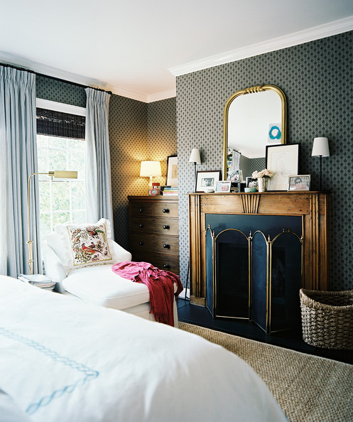bedroom; outlet on mantel; lamp; mirror | Interior Design -er: Ashley Putnam