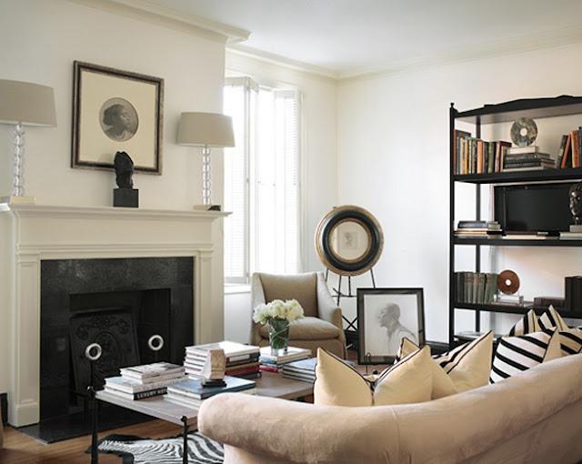 living room; outlet on mantel; lamp | Interior Design -er: Beth Webb