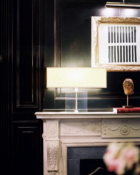 fireplace; outlet on mantel; lamp; art | Interior Design -er: MIchele Bonan