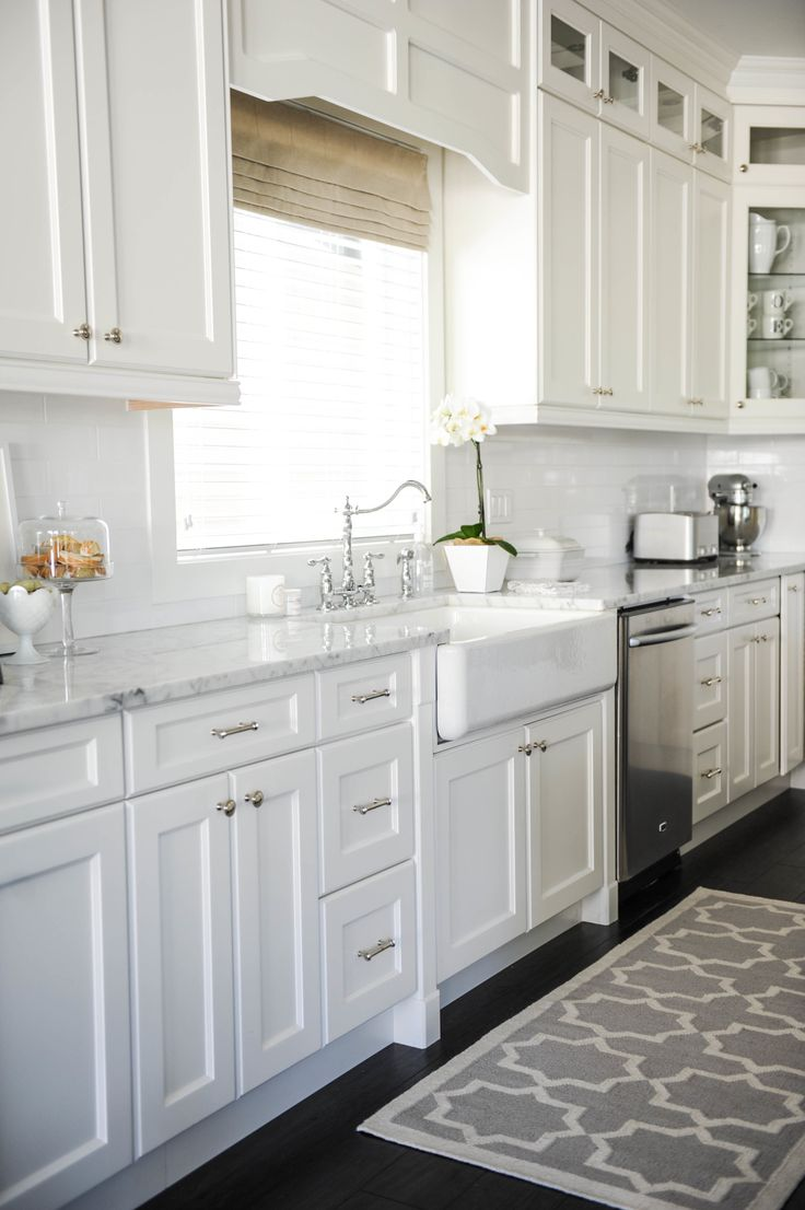 How to make your boring all white kitchen look alive for White cabinets white floor