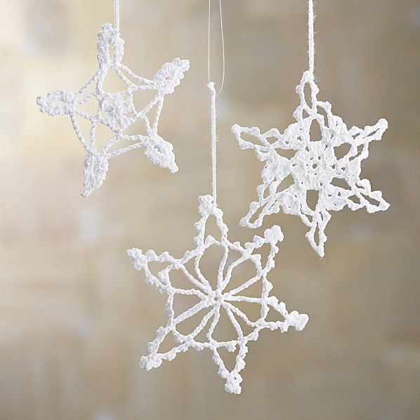 Crocheted Snowflake Ornaments for your boho / bohemian Christmas tree! | Via Crate and Barrel