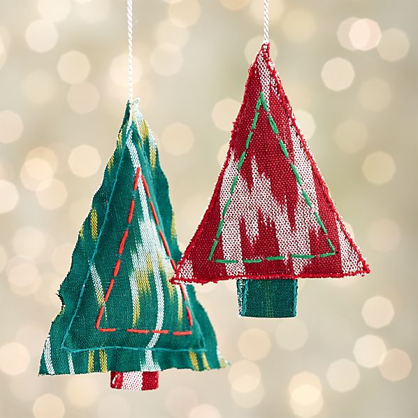 Ikat Stitched Christmas Tree Ornaments for your boho / bohemian Christmas tree! | Via Crate and Barrel