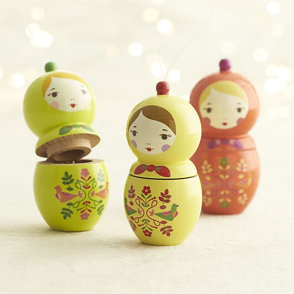 Matryoshka Nesting Doll Ornaments for your boho / bohemian Christmas tree! | Via Crate and Barrel