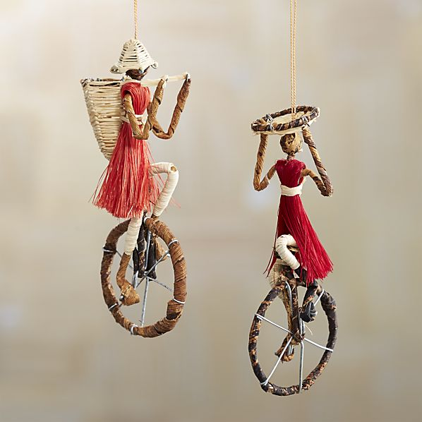 Sisal Unicyclist Ornaments for your boho / bohemian Christmas tree! | Via Crate and Barrel