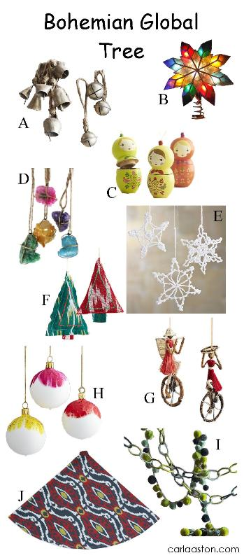 10 must-have ornaments for your boho / bohemian Christmas tree!