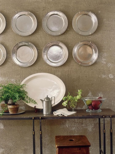 Decorate with, hang, pewter plates | Interior Design -er: John Saladino
