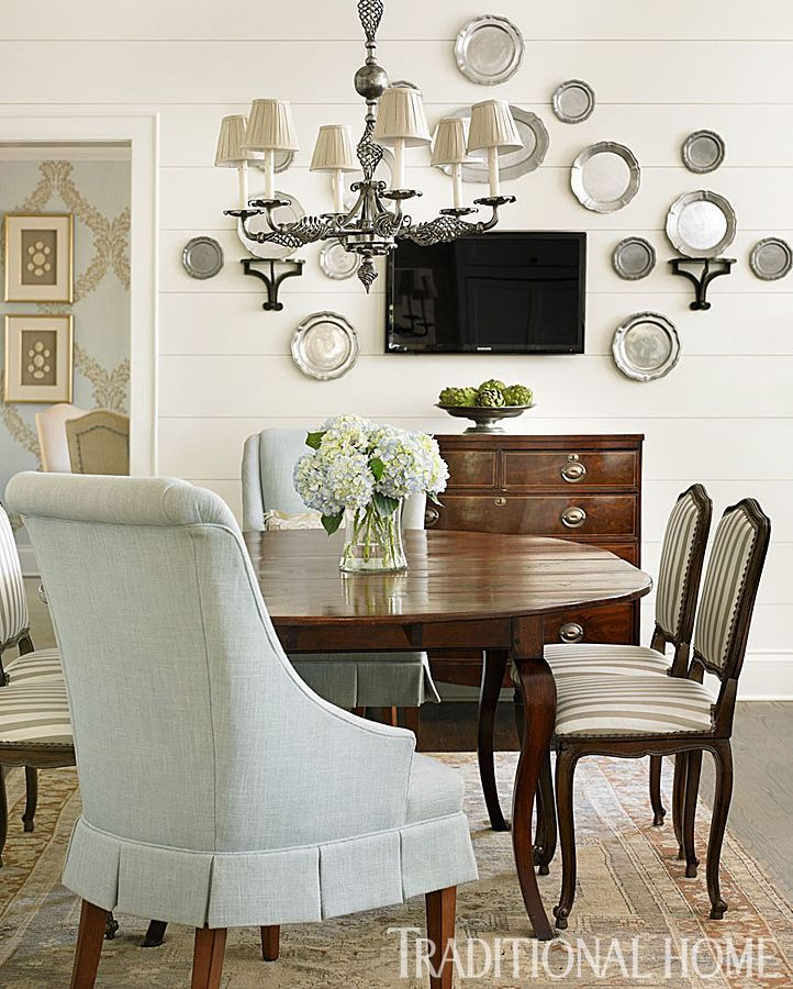 Decorate with, hang, pewter plates; dining room | Interior Design -er: Lauren DeLoach