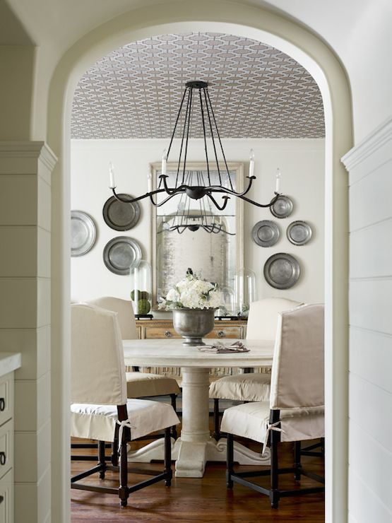 Decorate w/ pewter plates; dining room; white; wood | Interior Design -er: Rodolfo Castro