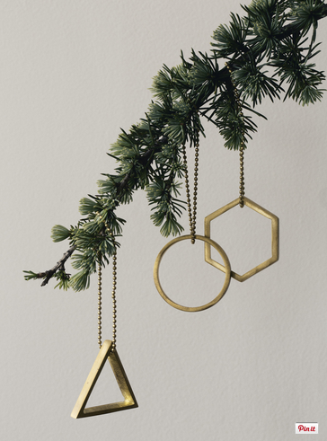 brass ornaments for your contemporary christmas tree - Unique Contemporary Christmas Decorations