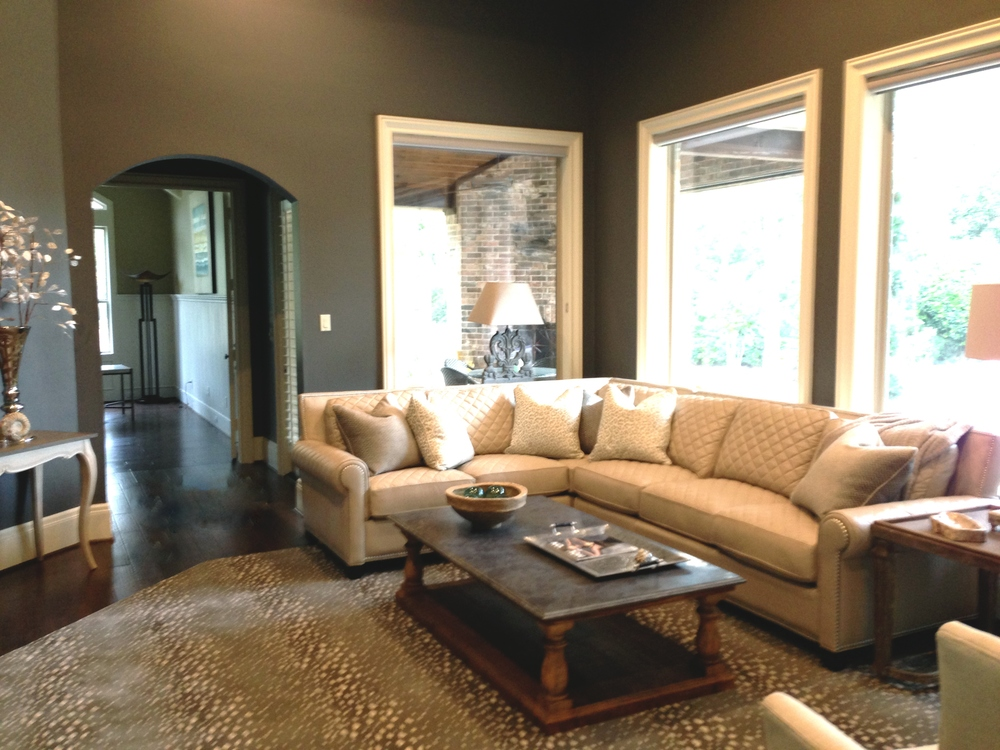 Classy living room designed by Carla Aston | couch; coffee table