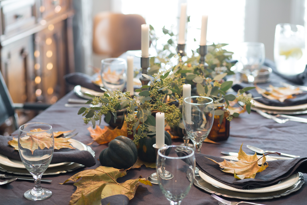 Thanksgiving / holiday tabletop setting design -ed by Carla Aston. Photographer: Tori Aston - http://toriaston.com
