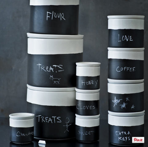 Chalkboard canisters for your modern country kitchen!