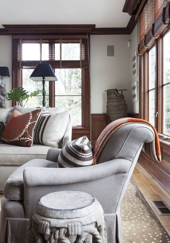 Living Room; Combination Of Wood And Gray/grey Color Scheme; Chair; Sofa