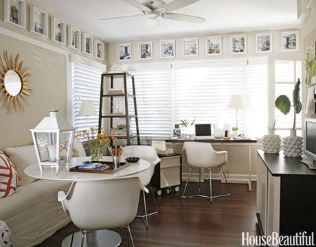Wood blinds; desk; white table | Img source: HouseBeautiful.com / Interior Designer: T. Keller Donovan
