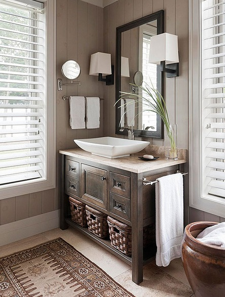 Wood blinds; bathroom; sink | Img source: BHG.com