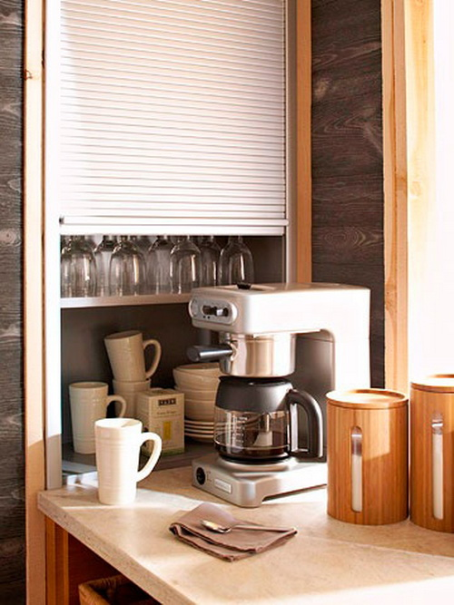 In-home/house coffee maker / bar / station | Image source: BHG.com