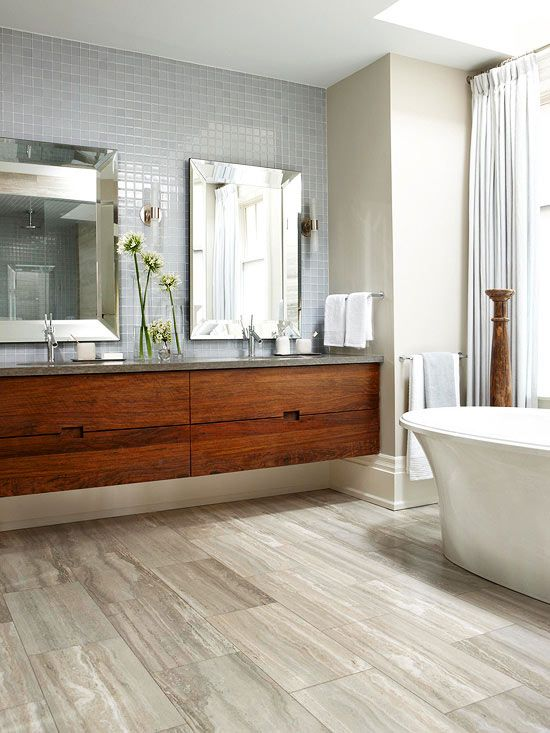 Orange tone wood; bathroom | Img source: BHG.com