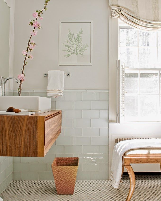 Orange tone wood; bathroom | Interior Design -er: Phoebe Lovejoy