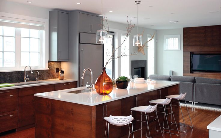 Orange tone wood; kitchen | Interior Design -er: Nancy Riesco & Rebecca Lapres