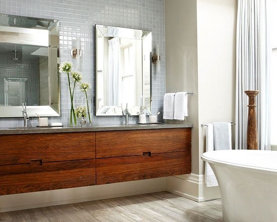 Orange tone wood; bathroom |Img source: BHG.com