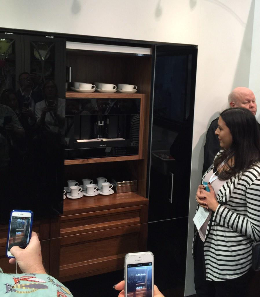 Exploring the luxury of @WoodMode cabinetry. #KBIS2015 #BlogTourVegas