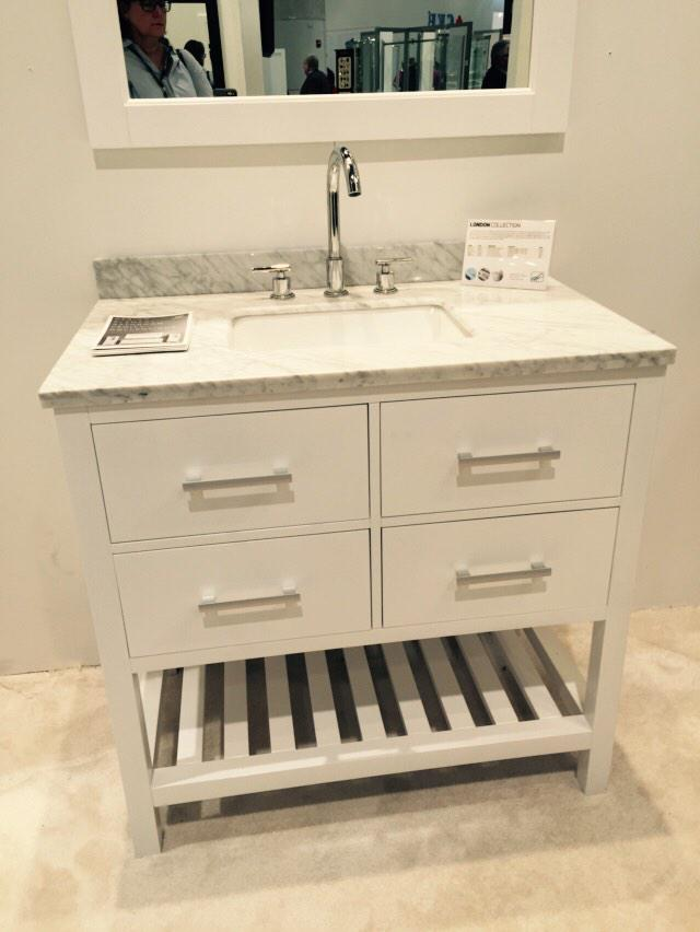 All-in-one bath vanities from Design Element. Perfect for an upstairs bath. #KBIS2015 #Blogtourvegas
