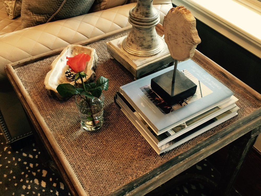 End table styling; home decor / decorating / design | Interior Designer: Carla Aston