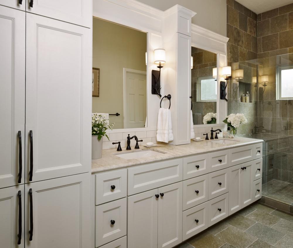 Interior Designer: Carla Aston | Garden inspired bathroom; cabinetry; slate floor; shower, shampoo niche / Photographer: Miro Dvorscak