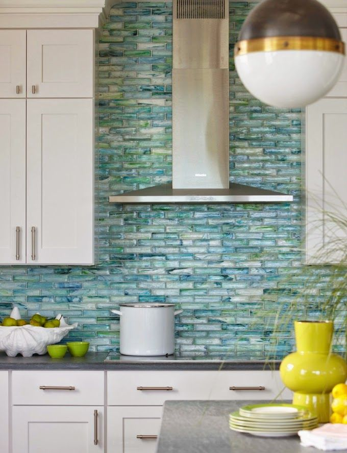 Tile all over the wall - backsplash trend, interior design, kitchen backsplash, color, lighting | Interior Designer: Rachel Reider