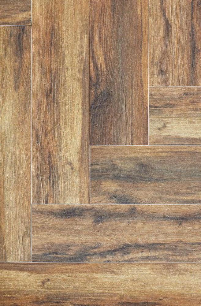 Pictured: wood look tile flooring