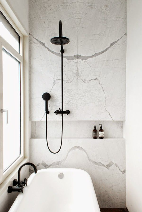 Pictured in this bathroom: black faucet; bathtub; shower | Image source: noglitternoglory.com
