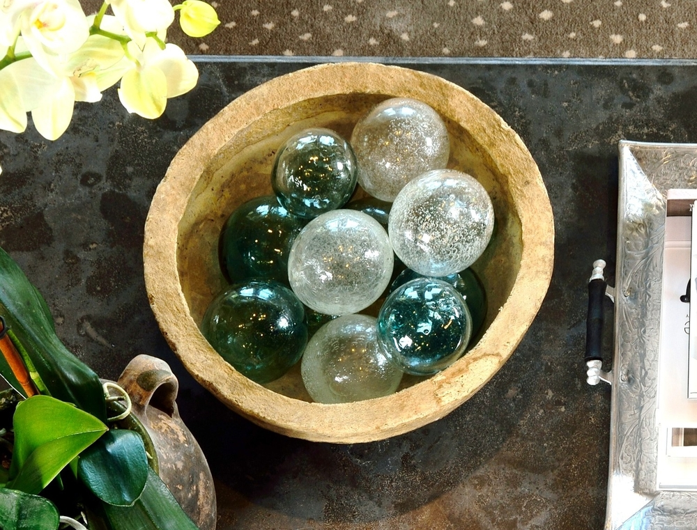 Fishing floats and paper mache bowl in Coffee Table Styling post.jpg