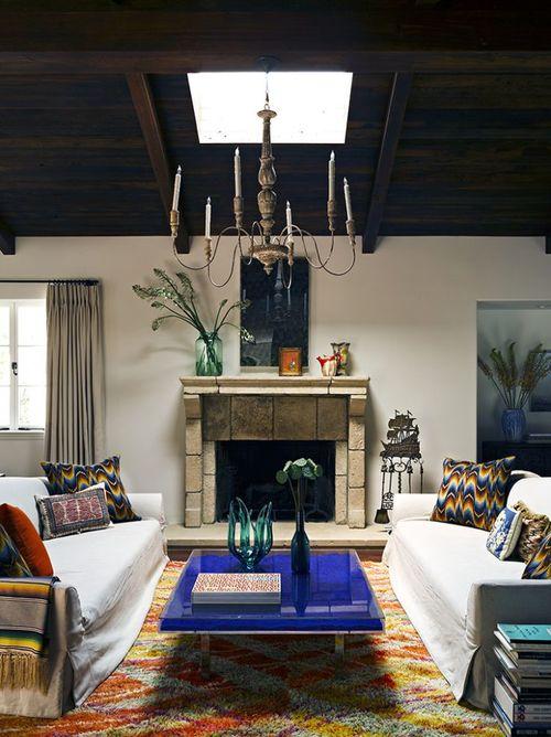 Cobalt blue living room table| Interior Designer: Jeffrey ...