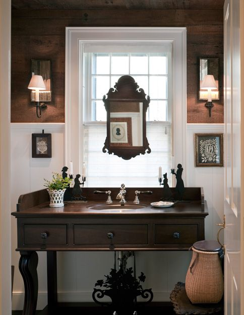 Bathroom vanity w/ mirror | Susan Zises Green