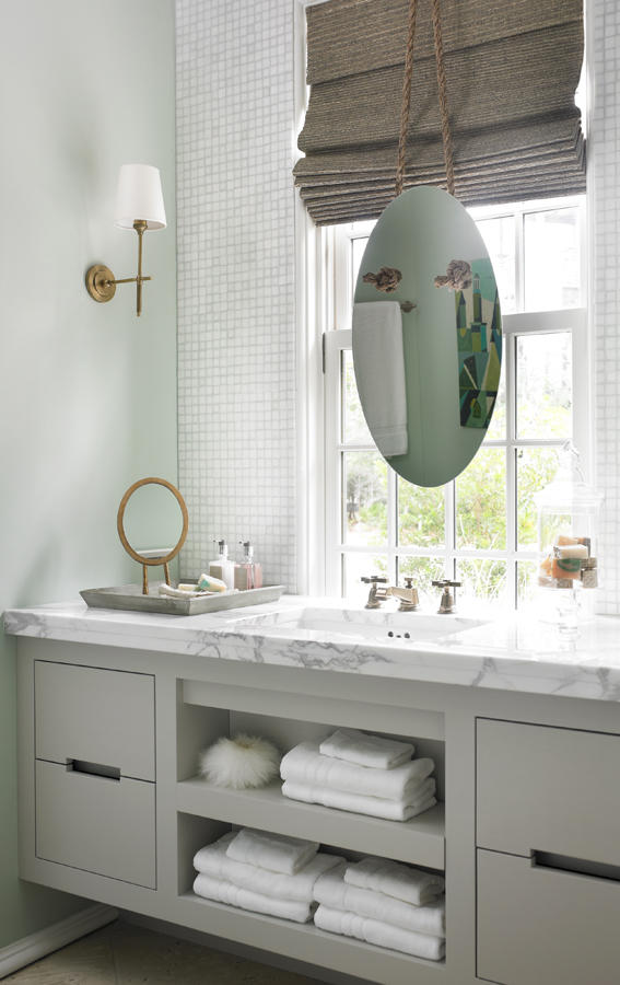 Bathroom vanity w/ mirror | Image source: South Shore Decorating Blog