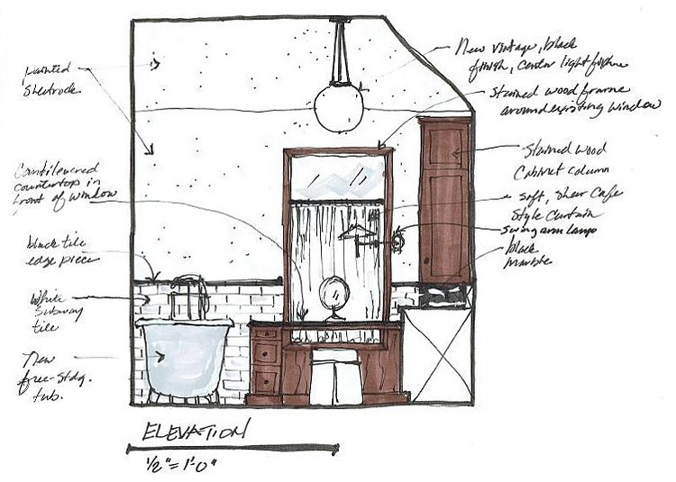 Bath Remodel Sketch Elevation 1