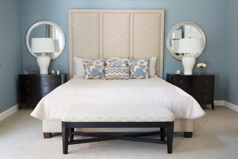 Bedroom bed, backboard, lamp, pillow, mirror, dresser| Interior Designer: Carla Aston / Photographer: Tori Aston