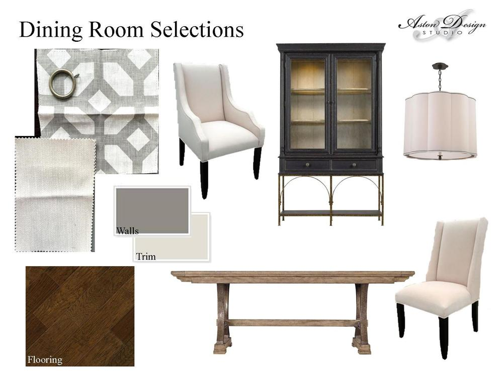 Dining room selections  | Digital storyboard by interior designer Carla Aston