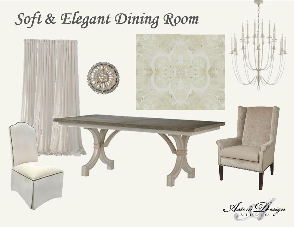 Soft and elegant dining room  | Digital storyboard by interior designer Carla Aston