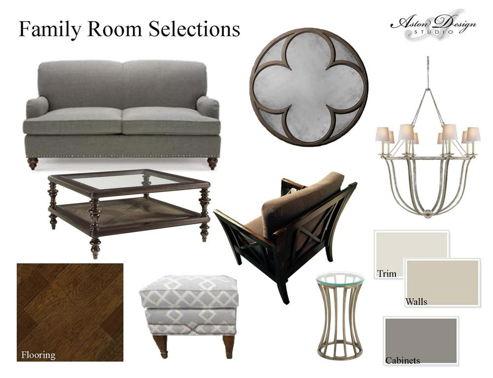 Family room selections | Digital storyboard by interior designer Carla Aston