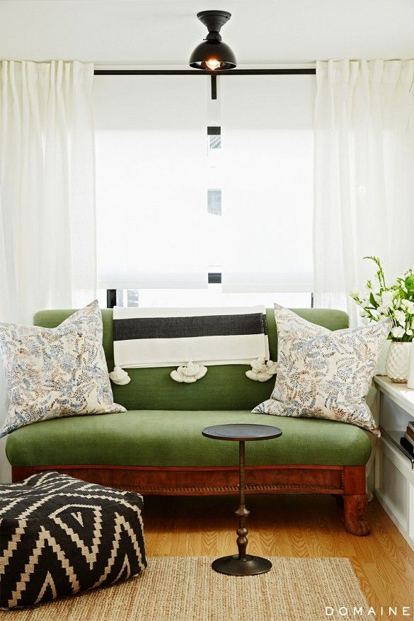 couch; pillow; table | Homeowner: Ellen Pompeo / Image source: domaine home